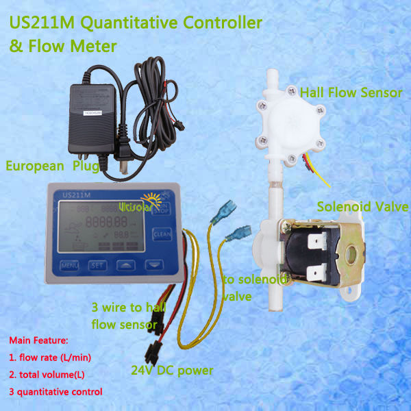 US211M Hall Water Flow Sensor Reader 24V Flow Reader with USN-HS06PA-4 hall effect water flow sensor 0.3-4.5 adapter included us208mt flow totalizer usn hs10pa 0 5 10l min 10mm od flow meter and alarmer totalizer frequency counter hall water flow sensor