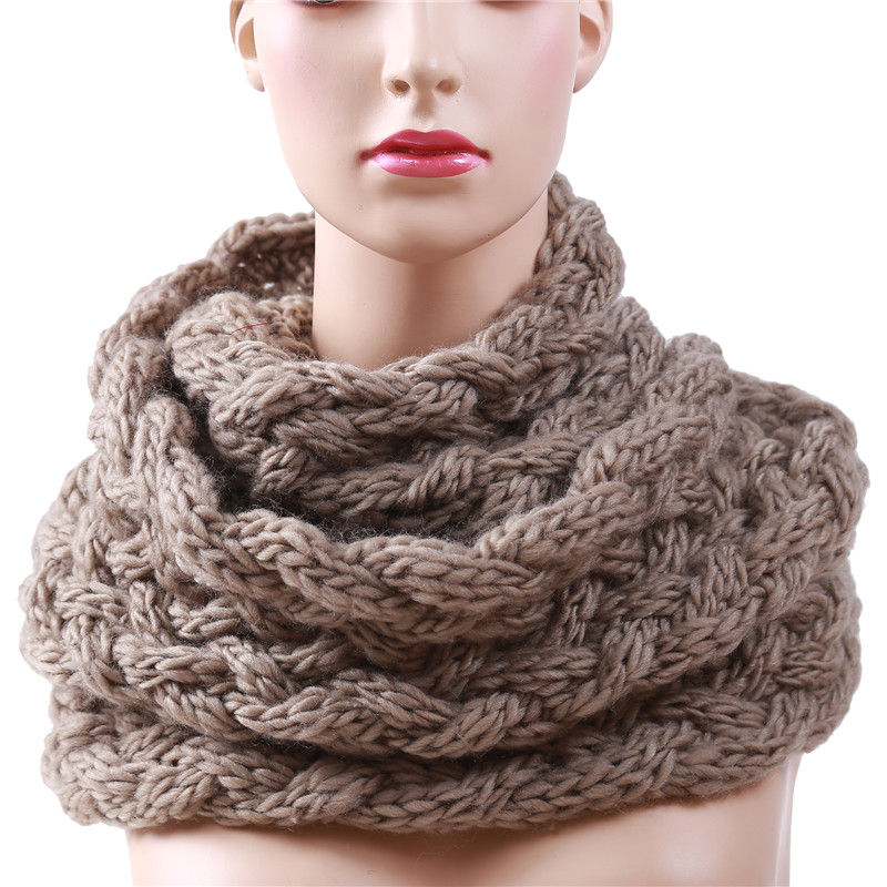 Knitted Cable Ring Scarf Women Soft Winter  Scarves Cashmere Neck Circle Scarf Luxury Brand Ladies Warm Snood Scarf