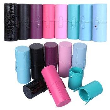 Einfarbig PU Leder Make-Up Lagerung Halter Kosmetische Tasse Fall Box Organizer Nagel Werkzeug Halter Kosmetische Werkzeug Kit Fall Container