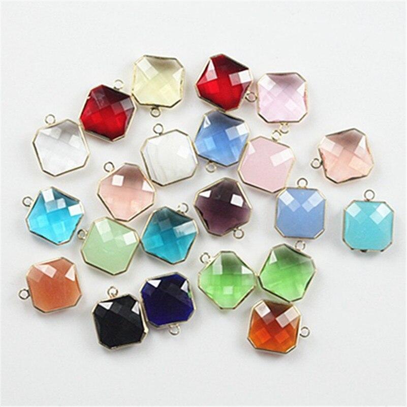 Vente 16*16mm 50 pcs/lot cristal verre perles connecteur à facettes cristal entretoise perle bijoux à bricoler soi-même faisant