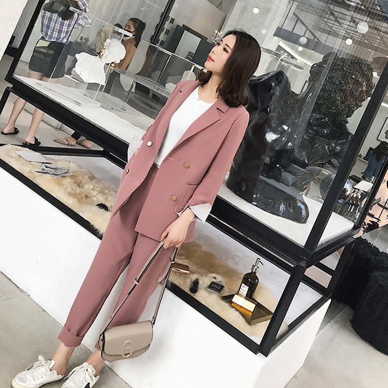 Striped Sleeve Double Breasted Women Pant Suits Notched Blazer & High Waist Pencil Pant Solid OL Style Female 2 Pieces Set 2018