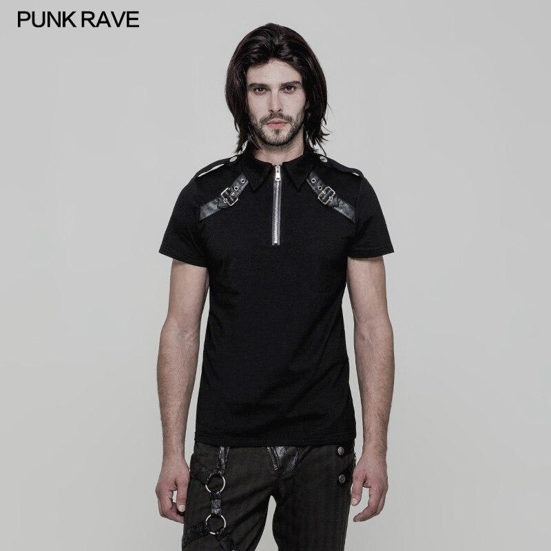 Punk Rave hommes Punk Rock noir militaire T-shirt décontracté hommes rue Cool manches courtes été hauts chemise
