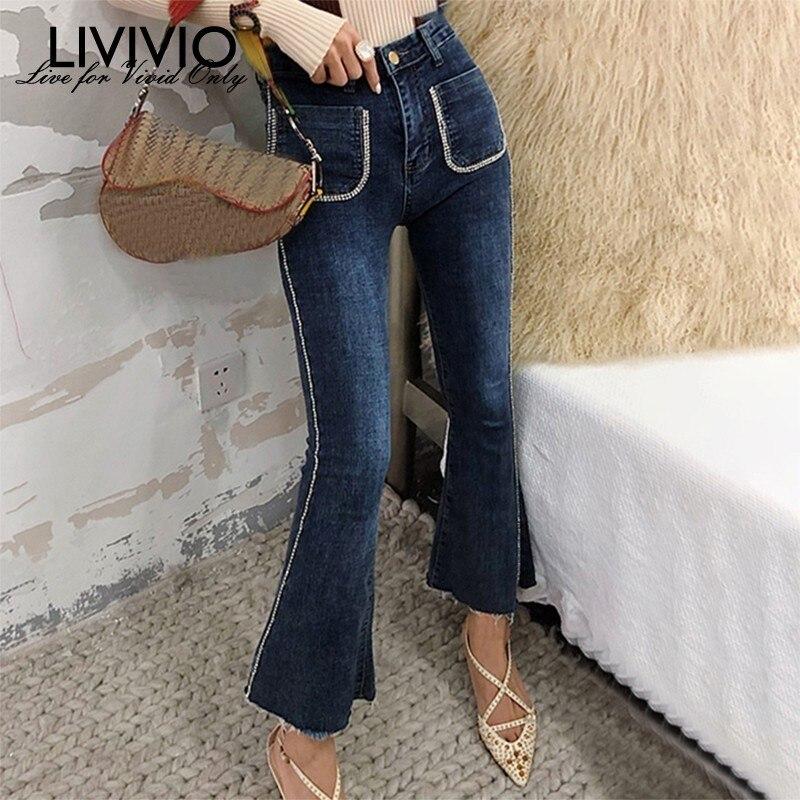 [LIVIVIO] Beadings Patchwork   Jeans   Women Fronts Pockets High Waist Denim Flare Pants Female Korean 2019 Autumn Fashion New