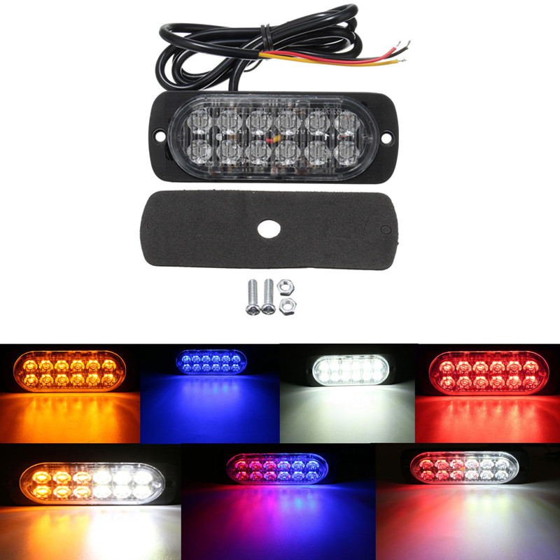 1pc 12V-24V Ultra-thin LED 12W Police Lights 12 LED Car Truck Emergency Side Strobe Warning Light Car-styling amber blue red 2pcs white red led car truck van side strobe light warning flasher caution emergency construction super bright page 8