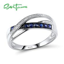 Silver Rings for Women Engagement Wedding Ring Blue and White CZ Diamond Rings Pure 925 Sterling Silver Fashion Jewelry manbu hot blue star enamel rings for women 925 sterling silver engagement wedding ring fashion gifts rings jewelry free shipping