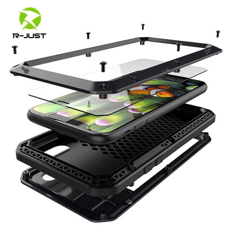 Gehärtetem glas + Metall Aluminium rüstung telefon Fall für iPhone 11 Pro XS MAX XR X 7 8 6 6S Plus 5 S 5C 5 SE Volle Körper Stoßfest Abdeckung