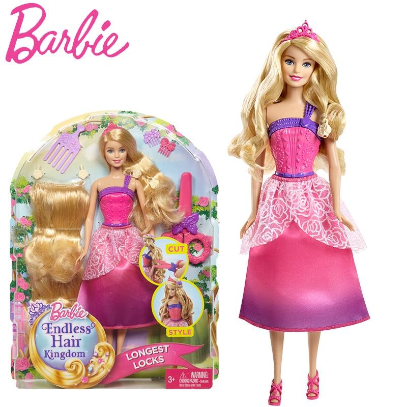 Original Barbie Doll Long Hair Princess Doll American Girl Barbie Doll Hair Kingdom Toys Gift For Birthday Boneca Juguetes DKM23 barbie originais hair feature doll house coloring activity american girl dolls barbie dolls brinquedos boneca children gift fbh6