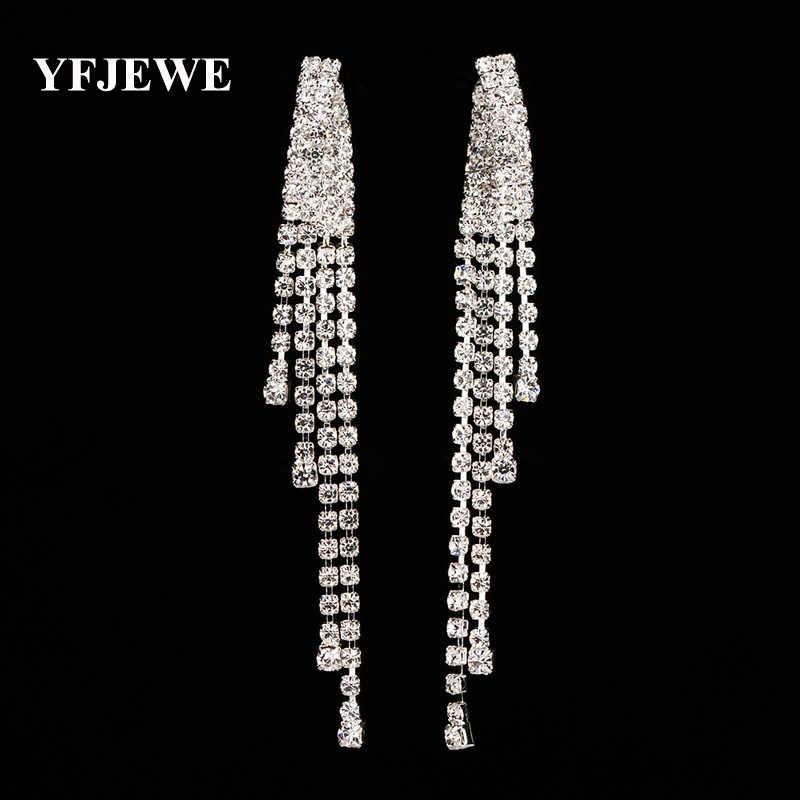 YFJEWE Mode Anmutige Frauen Abend Schmuck Voller Kristall quaste ohrring Gefüllt Lange Tropfen Ohrringe schmuck Für Frauen # E333