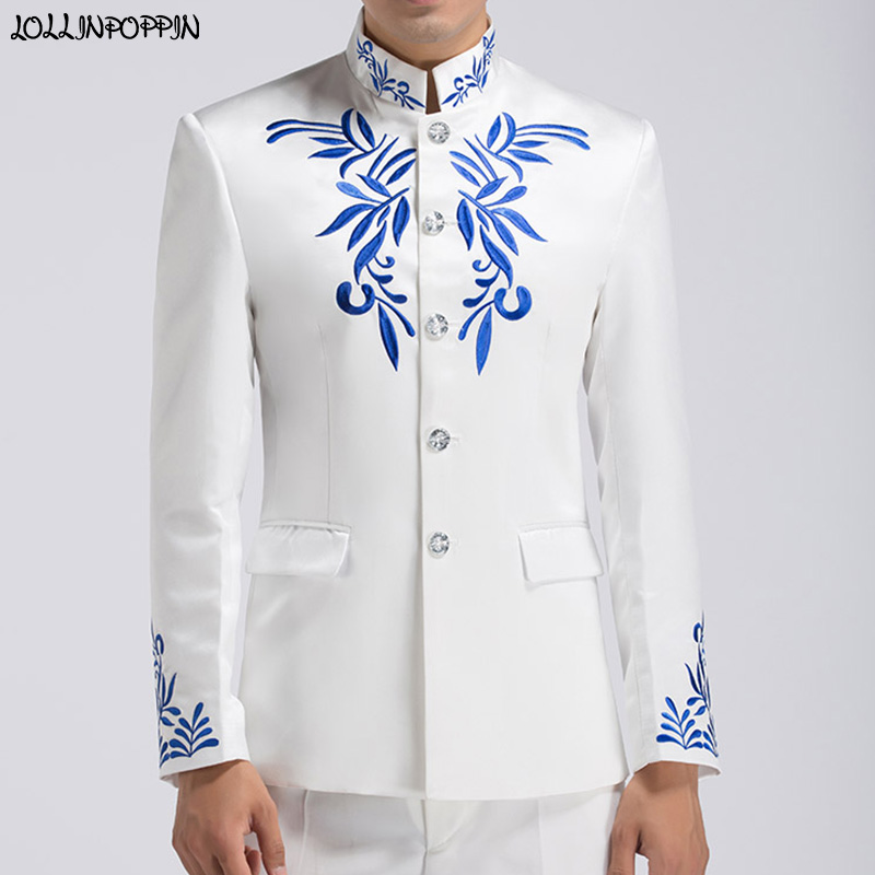 Chinese Style Embroidery Patterns Mens Stand Collar Suit Jacket Tang Tunic Jacket Men Wedding Jacket Embroideried Coat
