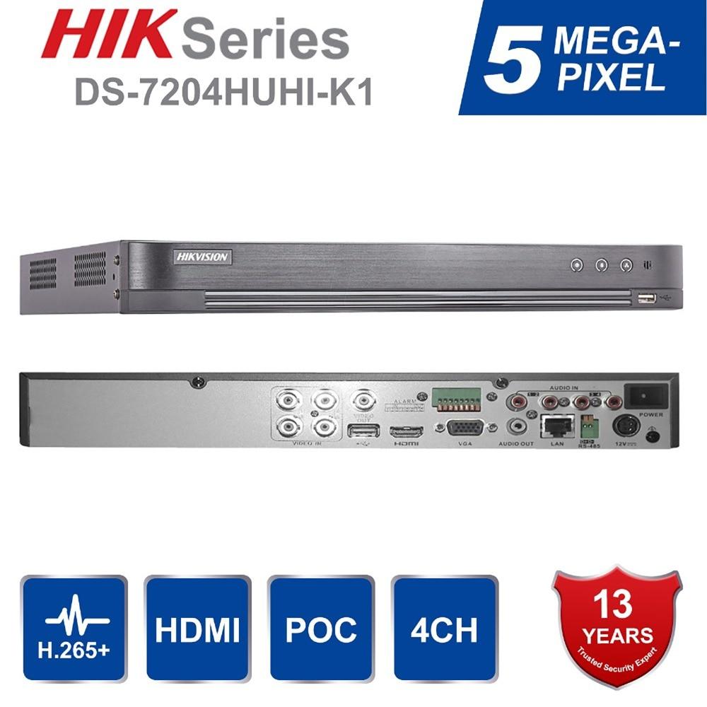 Hik Original English Version 4ch/8ch DVR DS-7204HUHI-K1 & DS-7208HUHI-K1 AHD CVI TVI CVBS IP 8MP Security DVR For Analog Camera