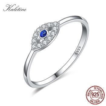 e14d5ea09673 Kaletine 925 anillos de plata esterlina para mujer azul buena suerte azul de  mal de ojo de la marca de lujo anillo de joyería de la boda de KLTR156
