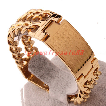 """Newest Cool Men's Gold Color Stainless Steel Double Curb Cuban Link Chain Bracelet Bangle Cuff Jewelry Fashion Bible Cross ID 9"""" 1"""