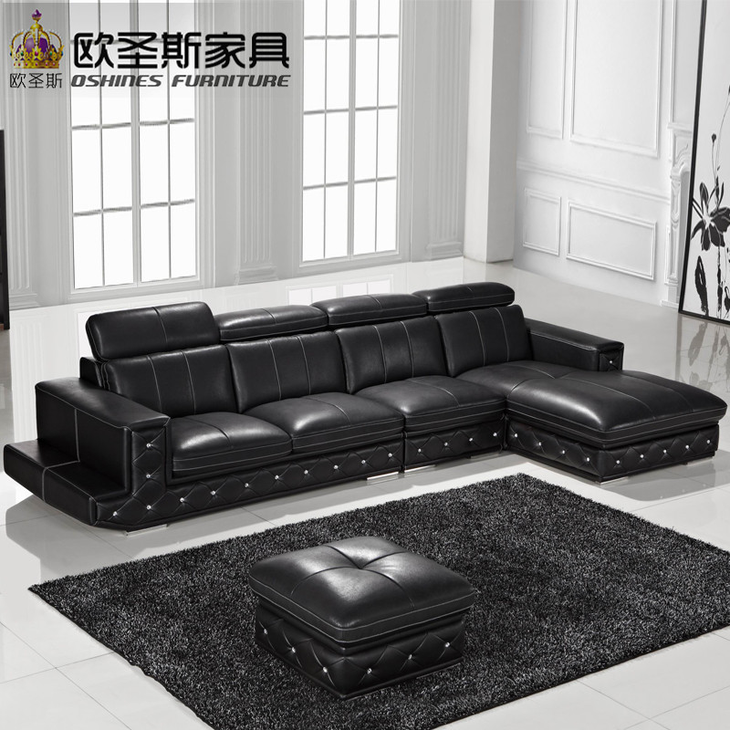 Cheap Genuine Leather Sectional Sofa: New Model L Shaped Modern Italy Genuine Real Leather
