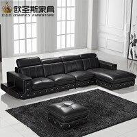 Nuevo Modelo en forma de L moderno Italia cuero genuino sección última esquina muebles de sala sofá conjunto F36C