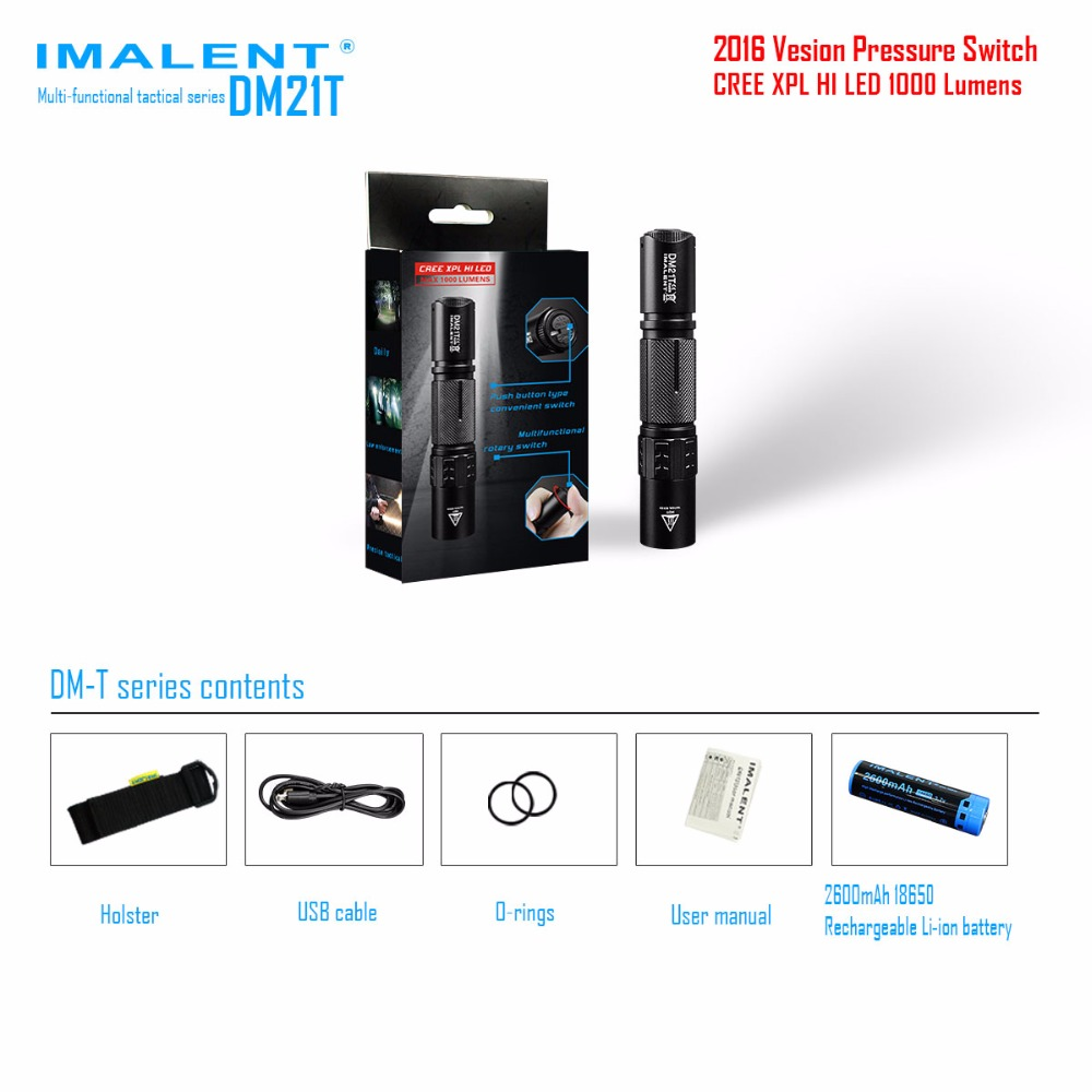 IMALENT DM21T Outdoor Flashlight CREE XPL HI LED max 1000LM beam throw 268 meter outdoor torch