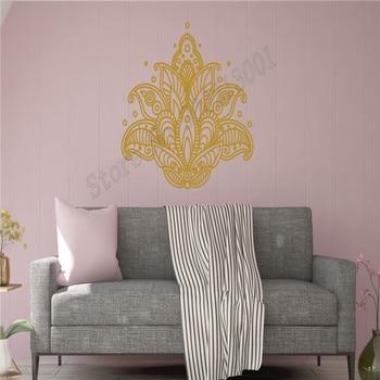 Wall Decoration Lotus Flowers Room Decor Yoga Mandala Poster Vinyl Art Removeable Mural Beauty Ornament Modern Decal LY591