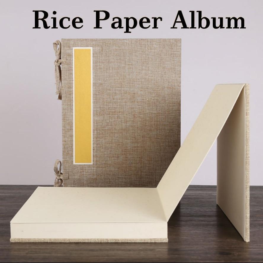 Papier de riz archaistique Album chinois de peinture calligraphie Page livre aveuglant cahier fibre de lin peinture toile