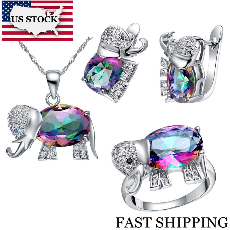 Cute Elephant Pendant Silver Necklace Earrings Set Fashion Costume Jewellery