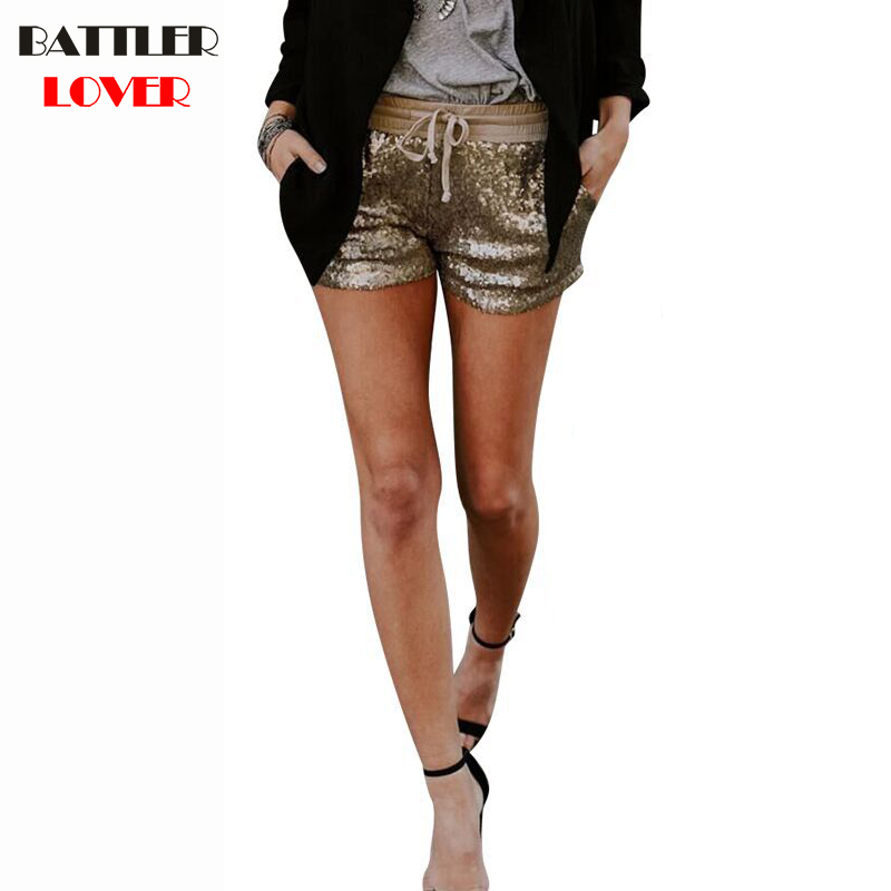 S-XL Women Summer Short Pants Velvet Drawstring Shorts Paillette Casual High Waist 2019 Winter Sexy Skinny Booty Shorts Feminino