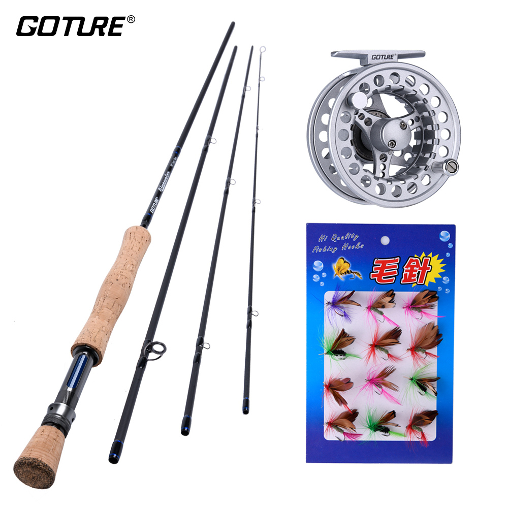 Goture Fly Fishing Reel Rod Kit 5WT 6WT 7WT 8WT Bluewater Fly Rod and 5/6 7/8 ACL Fly Reel with Flies Lures Rod Combo Set