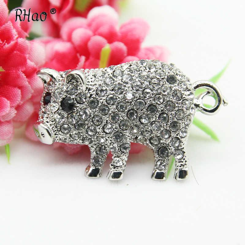 Rhao Cute Rhinestone Babi Bros Emas Indah Babi Kecil Bros Pin Hewan Bros untuk Wanita Gadis Pakaian Hadiah Perhiasan Korsase