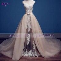 Waulizane Charming Transparent Skirt Design Sheath Wedding Dress Full Appliques Button Scoop Neck 2017 Vestido De