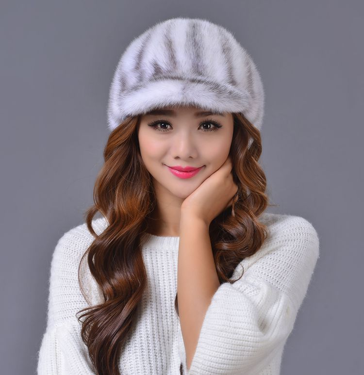 The whole leather mink fur grass hat fashion lady warm lovely leather hat peaked cap skullies beanies mink mink wool hat hat lady warm winter knight peaked cap cap peaked cap