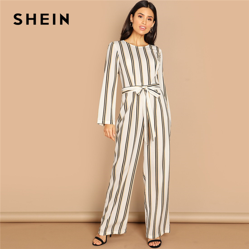 9dedae0aafb SHEIN Multicolor Zip Back Belted Stripe Jumpsuit Round Neck High Waist Office  Lady Jumpsuits 2018 Autumn Women Elegant Jumpsuit-in Jumpsuits from Women s  ...