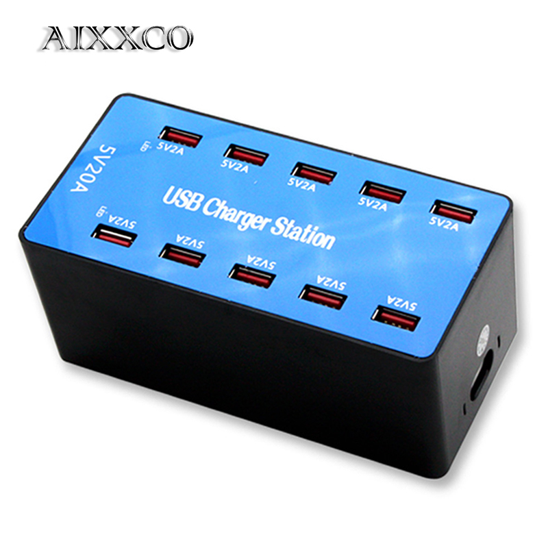 AIXXCO USB Charger 100W 10 Ports USB 20A Smart Desktop Charging Station for 5V 2 4A