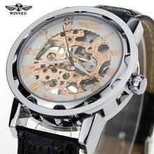 2016 venta caliente moderno vestido relojes GANADOR mano herida transparente diseño más fresco reloj de pulsera de cuero de estilo antiguo