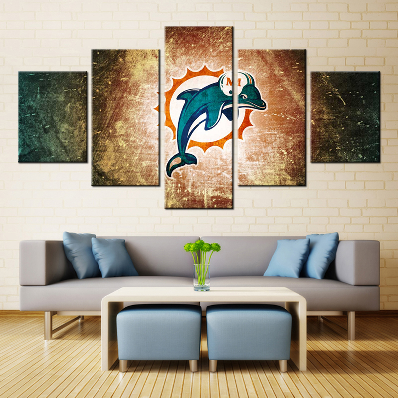 5 Pieces Set Miami Dolphins Wall Art Picture Modern Home Decoration Living Room Or Bedroom Canvas Print Painting Wall Picture