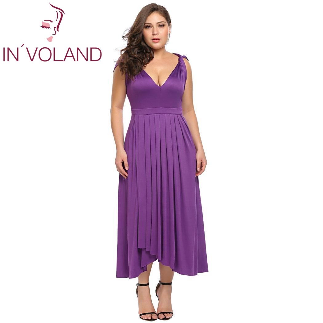IN VOLAND Women Party Long Dress Plus Size XL 6XL Sexy Double V Neck  Sleeveless Pleated Long Large Maxi Dresses Robe Big Size-in Dresses from  Women s ... b81f4ff7077a