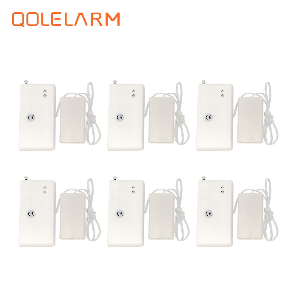 6pcs Newest 433MHz wireless water leak detector with 2 metal bar inside for wi-fi gsm sms alarm system with battery russia ukrain romania water leak detector home alarm equipment and auto water shut off system with 1pc 1 2 valve dn15