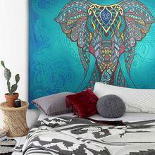 Elefante Indio Mandala Tapiz Tapiz de Color Impreso Decorativo 130 cm x 150 cm 210×150 cm Boho de Alfombras de Pared