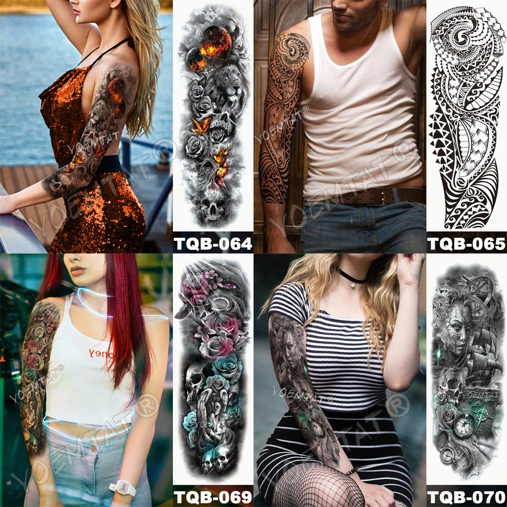 Tatuaje para brazo impermeable cráneo completo 7