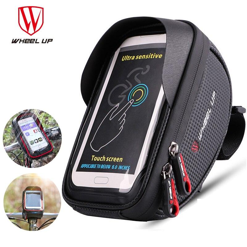 Roda para cima ciclismo suporte do telefone à prova dwaterproof água 6.5 polegada celular celular suporte de montagem da bicicleta guiador soporte bicicleta titular