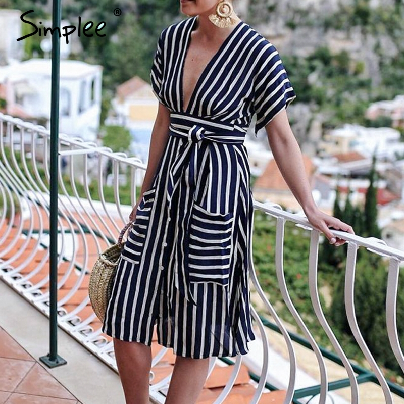 Simplee Striped backless women dress V neck sashes buttons summer plus size dresses Office ladies short sleeve vestidos 2019