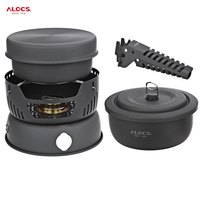 ALOCS CW C05 Outdoor Portable 10pcs travel tableware set camping Cookware bowl sets with pan gripper pot stove for picnic BBQ