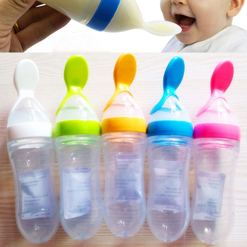 2017 New Arrival Silicone Baby Emzik Spoon training scoop feeding rice cereal By Squeezzing Bottle Baby Feeding Spoons cucharas