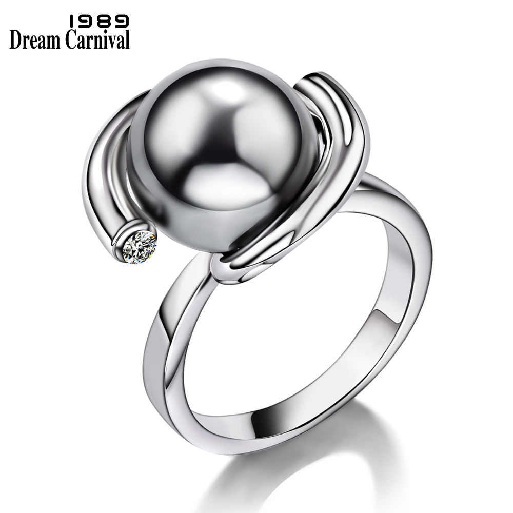 DreamCarnival 1989 Satelite Look Party Rings for Women Created Grey Pearl Zirconia Crystals Elegant bague Wedding Bijoux WA11401