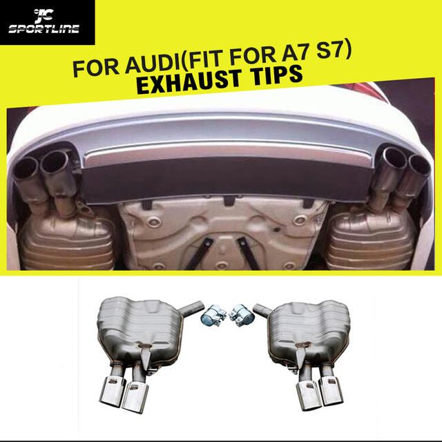 Stainless Steel Auto Car Exhaust Tips Tailpipes Trims for Audi A7 2013 - 2015