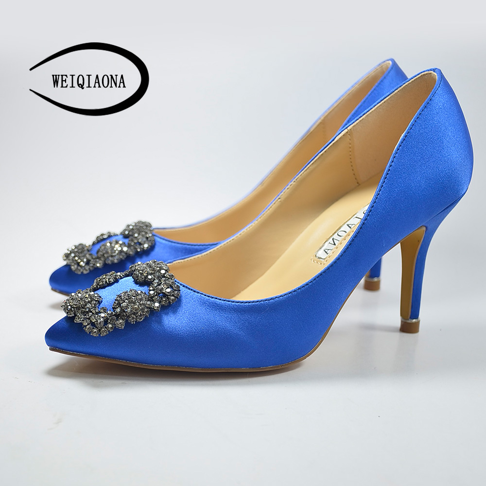 WEIQIAONA 2018 Fashion Brand shoes Sexy Women Pumps High Heels Shoes Elegant Buckle Rhinestone Heeled Thin Pointed Dress Shoes lakeshi new fashion pumps thin sexy high heeled shoes woman pointed suede hollow out bowknot sweet elegant women shoes