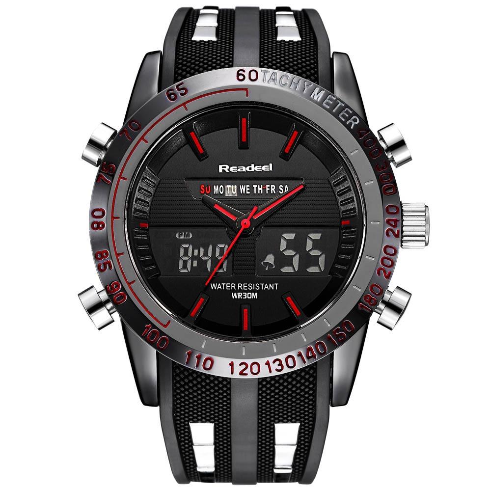 Mens Watches Top Brand Luxury LED Digital Quartz Watch Male Clock Men Rubber Strap Fashion Casual Watch Men Military Wrist Watch