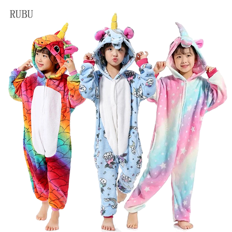 Girls Boys Winter Kigurumi Pajamas Unicorn Cartoon Anime Animal Onesies Kids Sleepwear Flannel Warm Jumpsuit Children Pajamas(China)