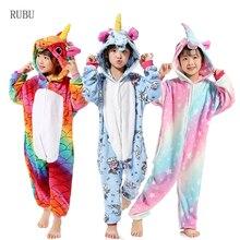 a1b9e4902a36ca Dziewczyny chłopcy zima Kigurumi piżamy jednorożec Cartoon Anime zwierząt  Onesies dla dzieci piżamy flanelowe ciepły kombinezon