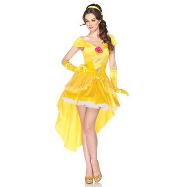 e749c9d37b8de0 Adult Women Sexy Princess Bell Dress Beauty And The Beast Fairy Tale  Costume Golden Flowery Cosplay Satin Dress Costume