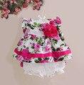 Nuevo bebé ropa de la muchacha rose floral casual chicas ropa set top + shorts 2 unids conjunto de ropa para niños de 9 meses-4 años