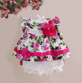 new baby girl clothes rose floral casual girls clothing set top+shorts 2 pcs set kids clothes for 9 month - 4 years