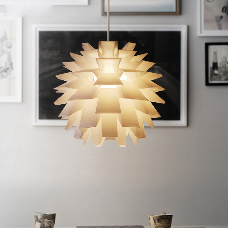 Creative Nordic White PVC Pendant Lamp Pinecone PP Lotus Pendant Light Hanging Decoration Ofhead Cover for Bedroom Home Lighting