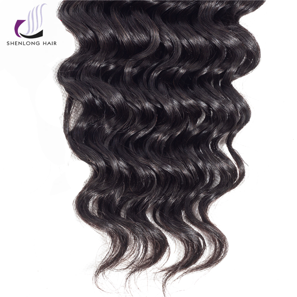 SHENLONG HAIR 1 Pcs 100% Human Hair Brazilian Deep Wave Hair Weave 8-20 Inch Non Remy Natural Color Hair 4*4 Lace Closure